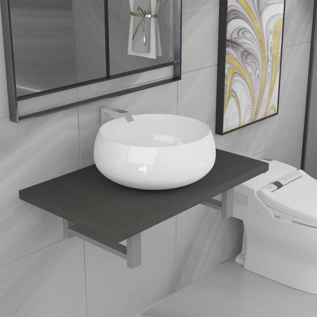 279334 vidaXL Set mobilier de baie, 2 piese, gri, ceramică