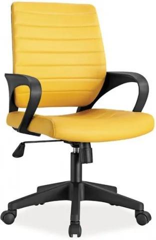 Scaun de birou ergonomic, tapitat cu piele ecologica Q-051 Yellow, l56xA57xH90-99 cm