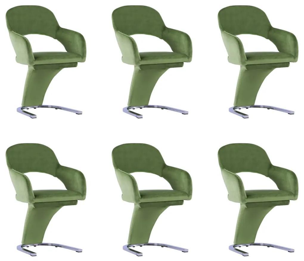 3056590 vidaXL Scaune de bucătărie, 6 buc., verde, catifea