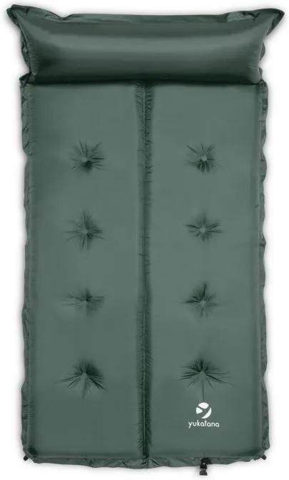Yukatana Goodbreak 5, 5 cm, verde-gri, saltea gonflabilă, autogonflabilă, secțiune pentru cap