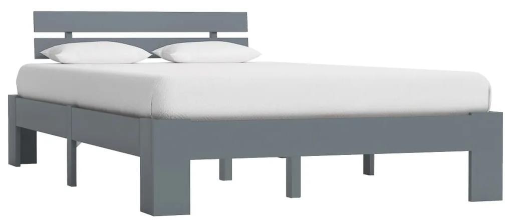 283168 vidaXL Cadru de pat, gri, 120 x 200 cm, lemn masiv de pin