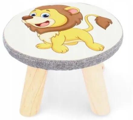 Scaun taburet pentru copii, model leu, 28x18 cm