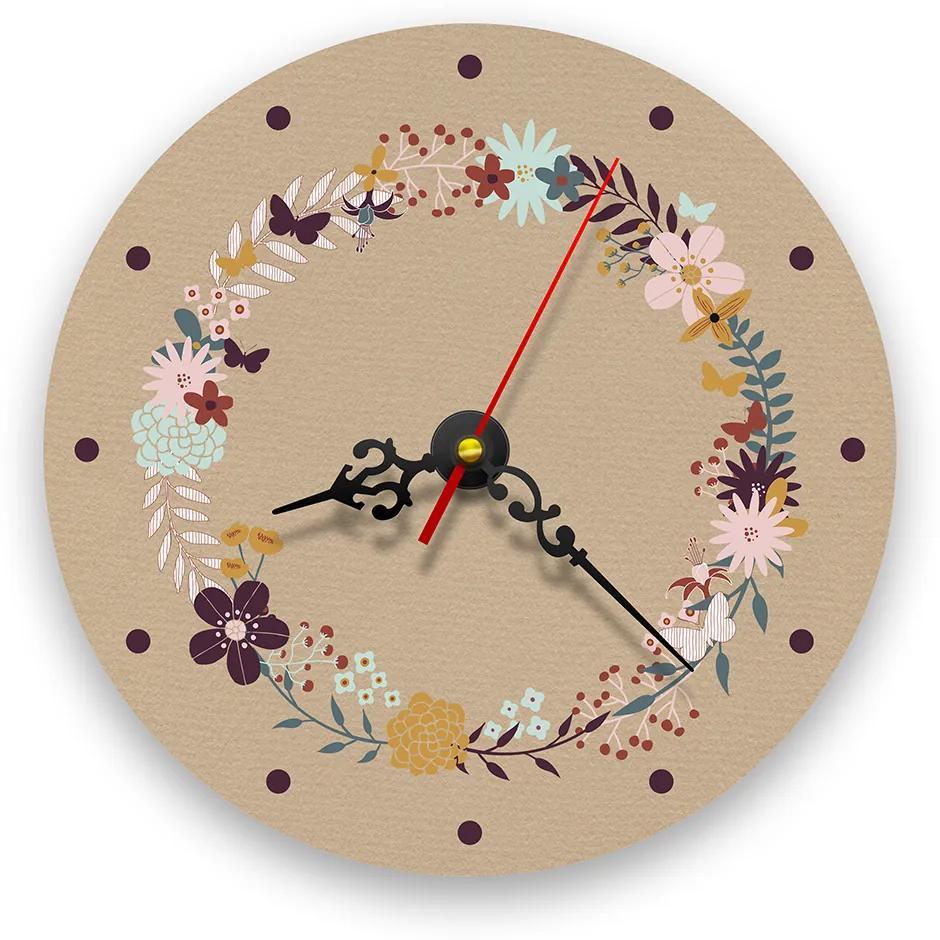 Ceas de perete - Flori si fluturi retro 21 cm, lemn