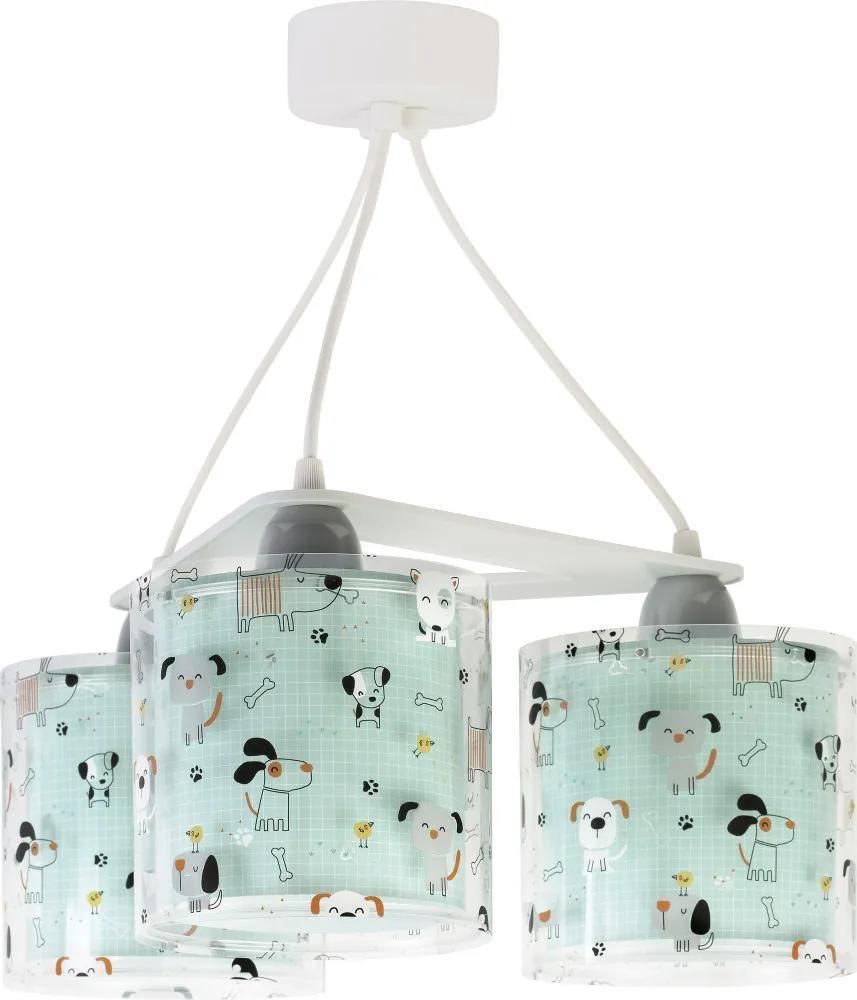 Dalber 61314 Lustre /pendule, Iluminat copii Happy Dogs plastic