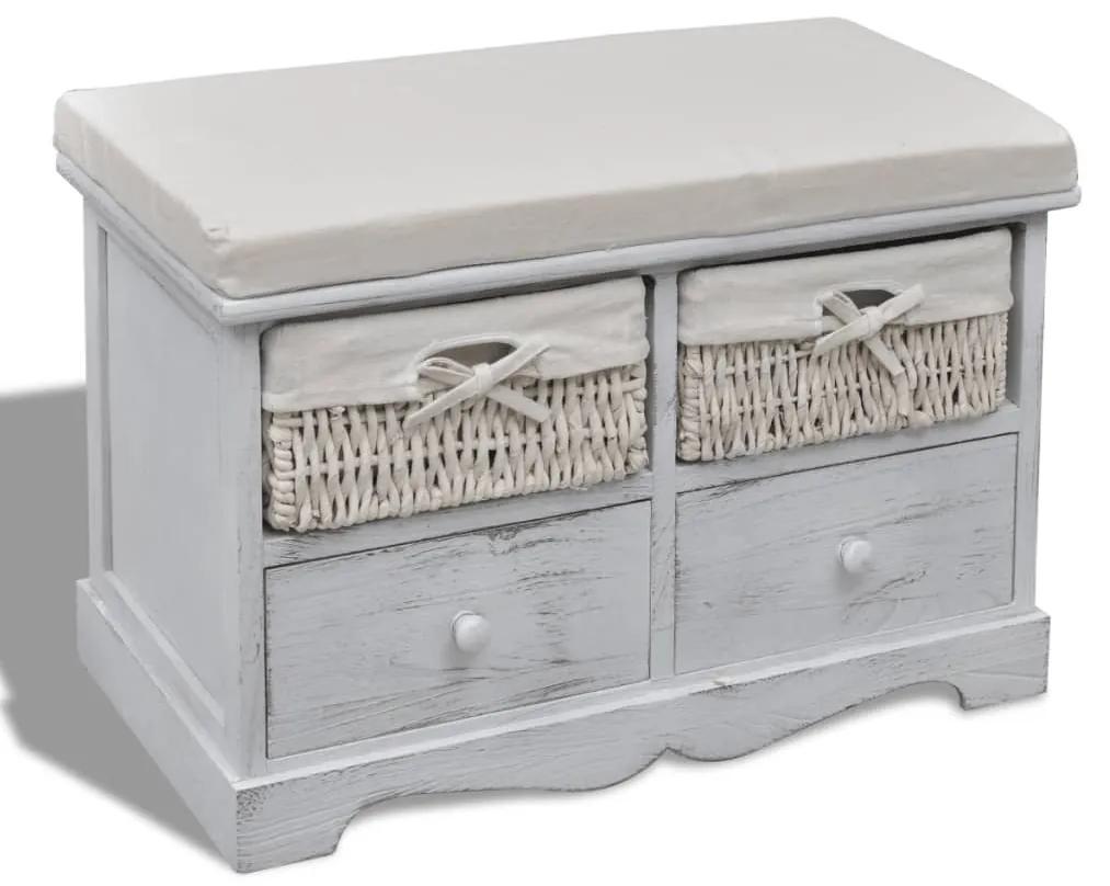 240790 vidaXL Bancă de depozitare, alb, 62x33x42 cm, lemn de paulownia