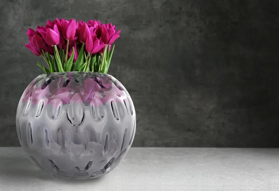 Vaza de sticla Areca II Argintiu