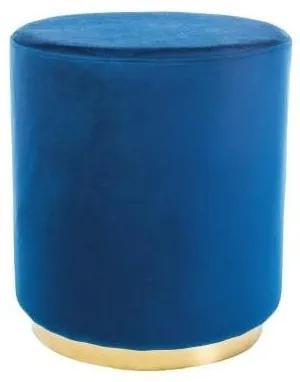 Puf albastru din catifea Ø42x H48 cm Furla Blue Gold