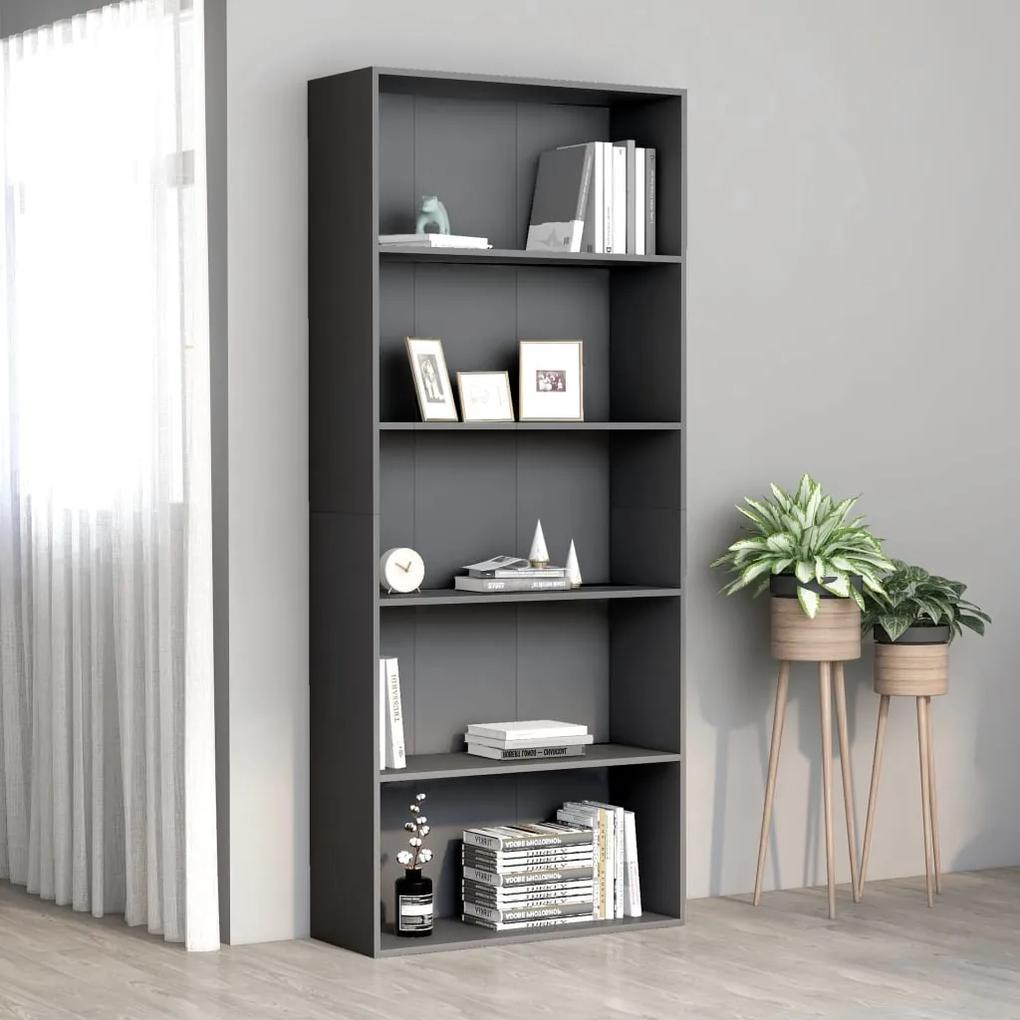 801028 vidaXL Bibliotecă cu 5 rafturi, gri, 80 x 30 x 189 cm, PAL