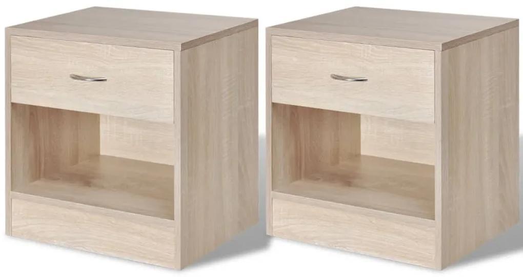 242546 vidaXL Noptieră cu sertar, 2 buc, culoare stejar