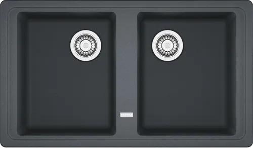 Chiuveta bucatarie cu doua cuve Franke BFG 620, 86x50 cm, fara picurator, reversibila, fragranite finisaj grafit