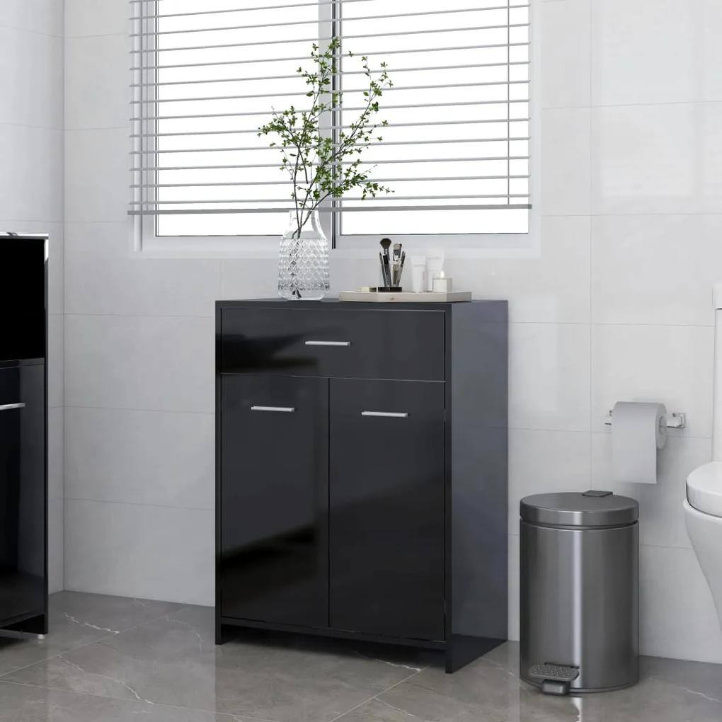 805031 vidaXL Dulap de baie, negru extralucios, 60 x 33 x 80 cm, PAL