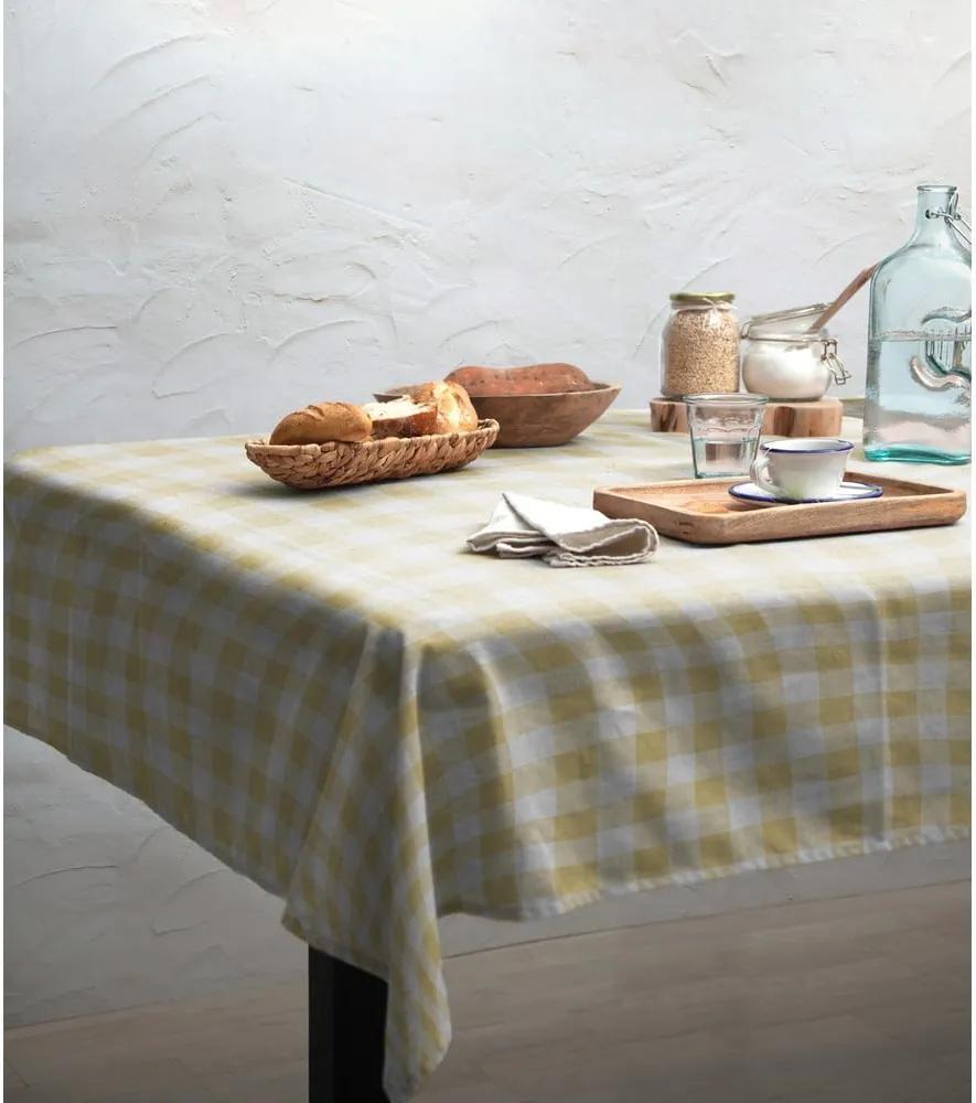Față de masă Linen Couture Yellow Vichy, 140 x 140 cm