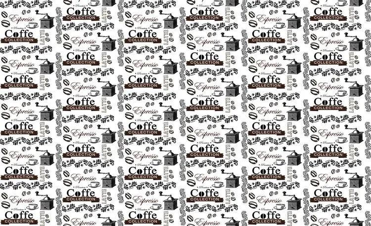 Coffee Pattern Fototapet, (416 x 254 cm)