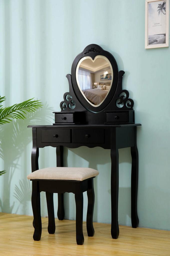 Set Amelia, Masă de toaletă pentru machiaj cu oglindă iluminată bandă LED, control touch, 4 sertare, scaun, Negru