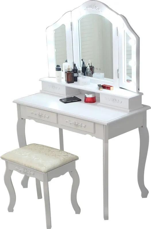 Set Anastasia, masă de toaletă cu 3 oglinzi iluminate LED, control touch, 4 sertare, scaun, Alb