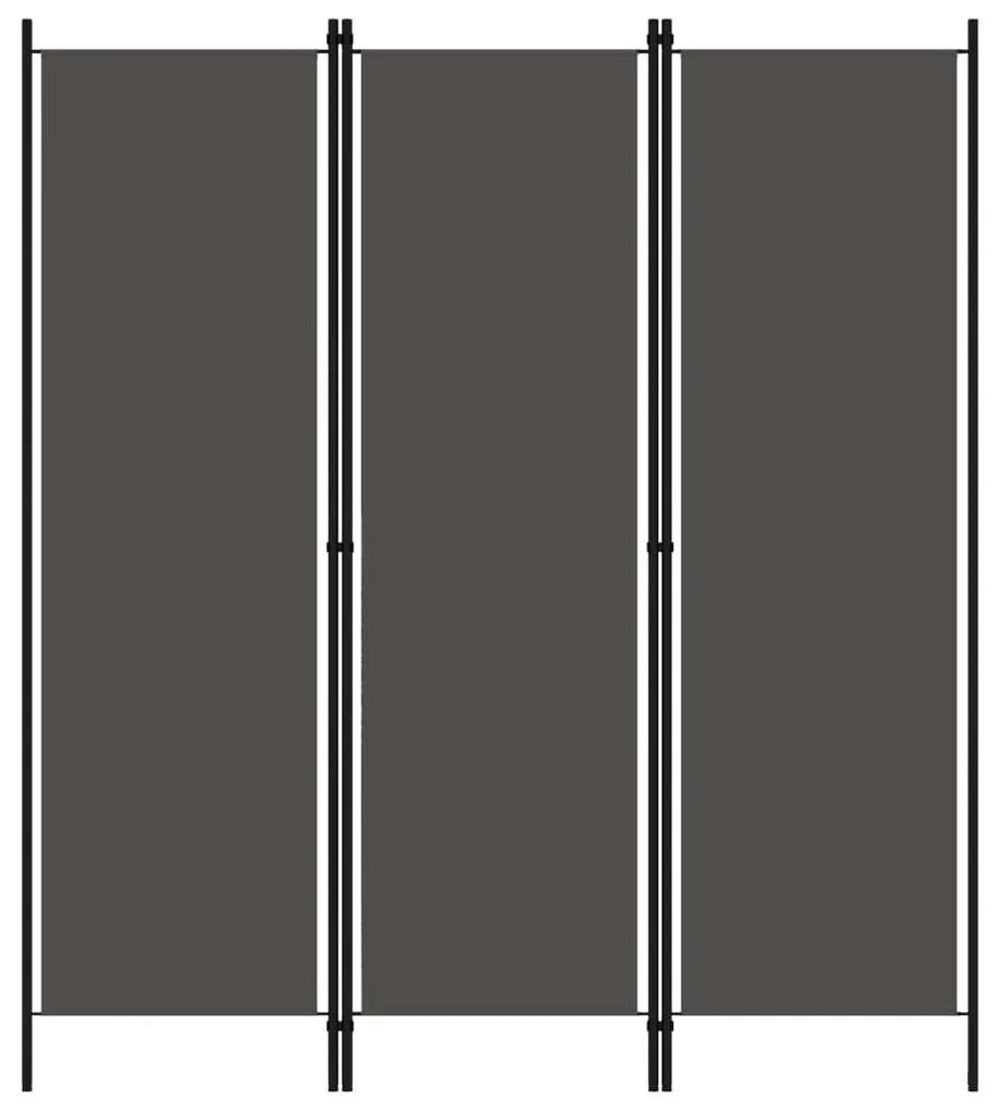 320717 vidaXL Paravan de cameră cu 3 panouri, antracit, 150 x 180 cm