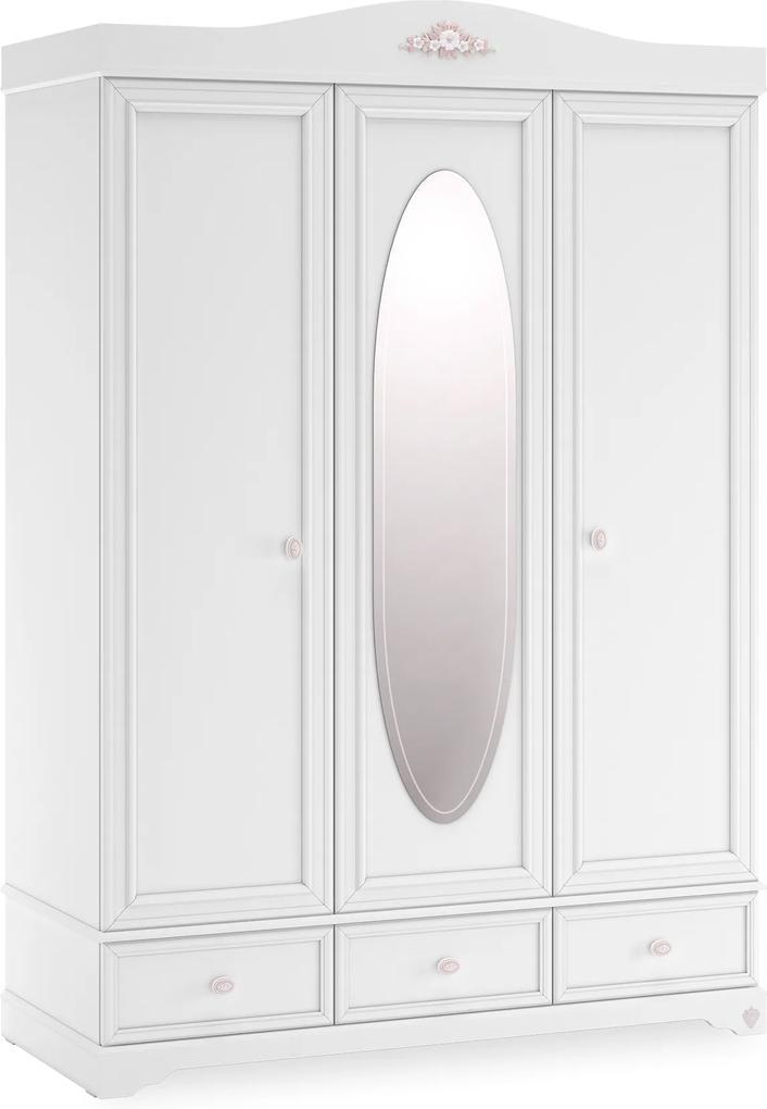 Dulap din PAL cu 3 usi si oglinda Rustic White 140x204x68 cm