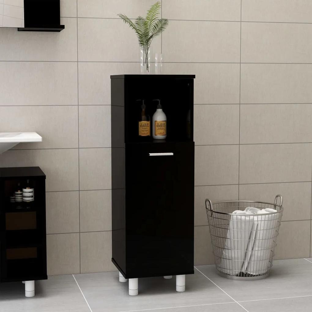 802622 vidaXL Dulap de baie, negru extralucios, 30 x 30 x 95 cm, PAL