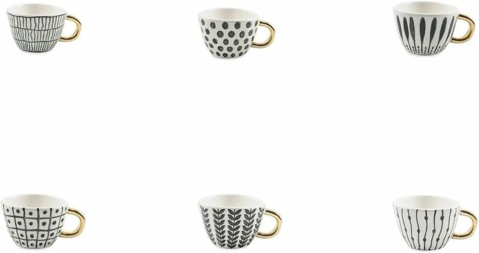 Set 6 cești de cafea Villa d´Este Masai, 90 ml, alb - negru