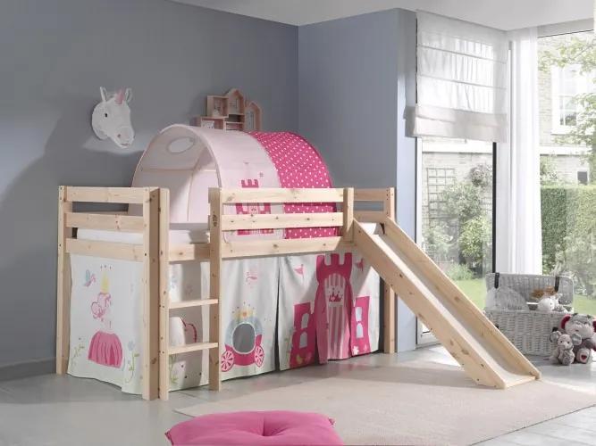 Pat etajat din lemn de pin, cu tunel si tobogan pentru copii Pino Princess Natural, 200 x 90 cm