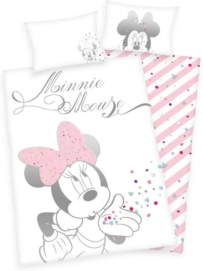 Lenjerie de pat, din bumbac, Minnie Mouse, 100 x 135 cm, 40 x 60 cm