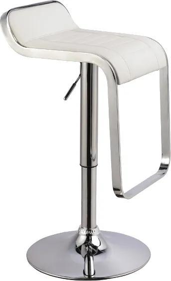 Scaun de bar tapitat cu piele ecologică C621 alb 35x42x68 cm