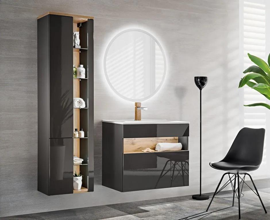 Set mobilier baie Bond Grey 60 cm cm, cm, cm, Set Mobilier Baie 4 piese