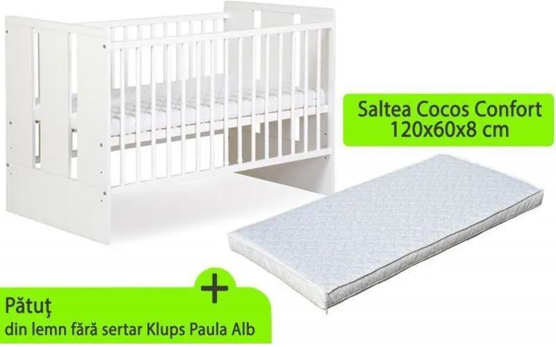 Klups - Patut fara sertar Paula Alb + saltea 8 Mykids confort II