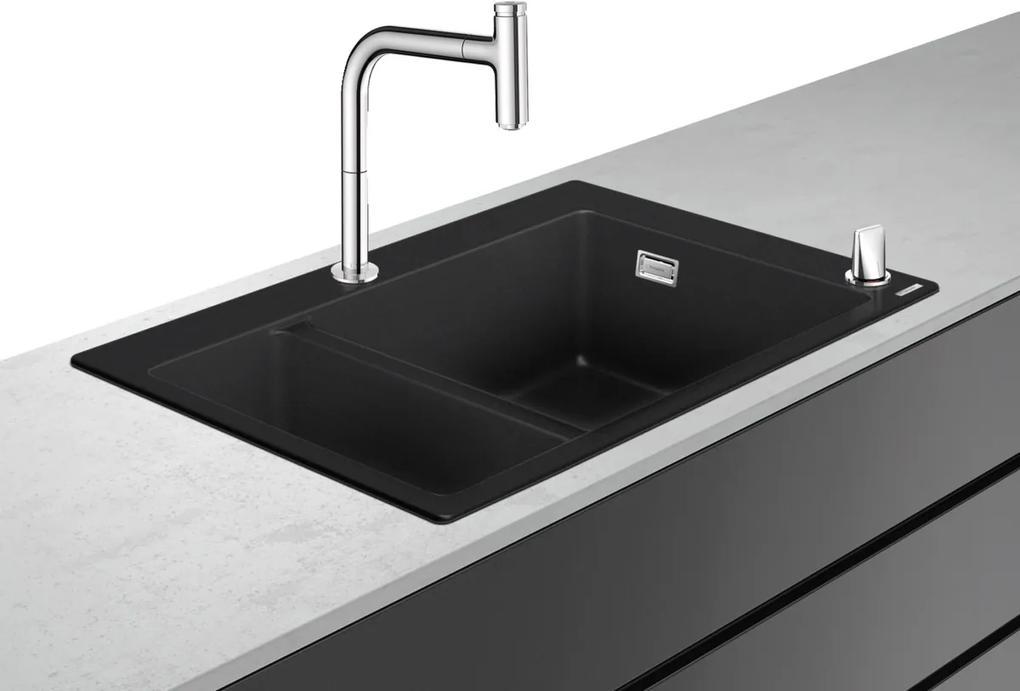 Set Hanshrohe C51-F635-09 Sink combi 180/450 Chiuveta SilicaTec 51x77x19cm graphite black + Baterie din doua elemente cu dus extractibil ComfortZone 200