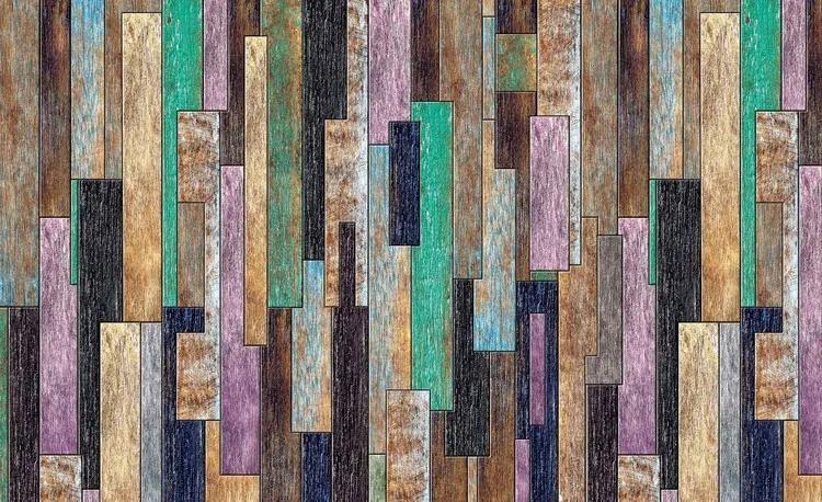Wood Planks Painted Rustic Fototapet, (254 x 184 cm)