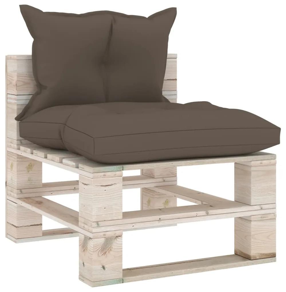 3066071 vidaXL Canapea de grădină din paleți, de mijloc, cu perne, lemn pin