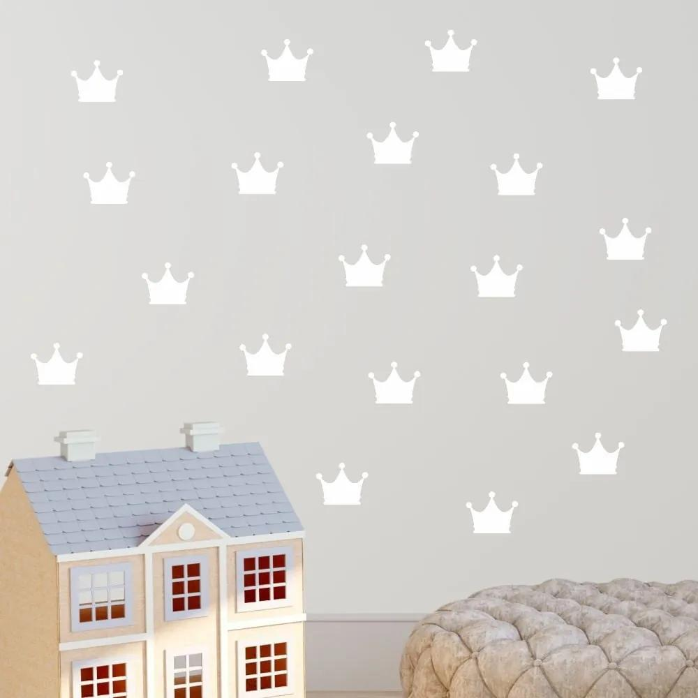 Set autocolante de perete North Carolina Scandinavian Home Decors Crown, alb