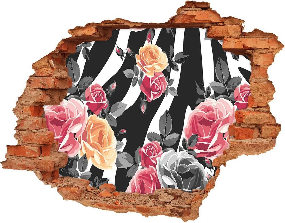 Autocolant autoadeziv gaură Trandafiri în fundal de o zebră