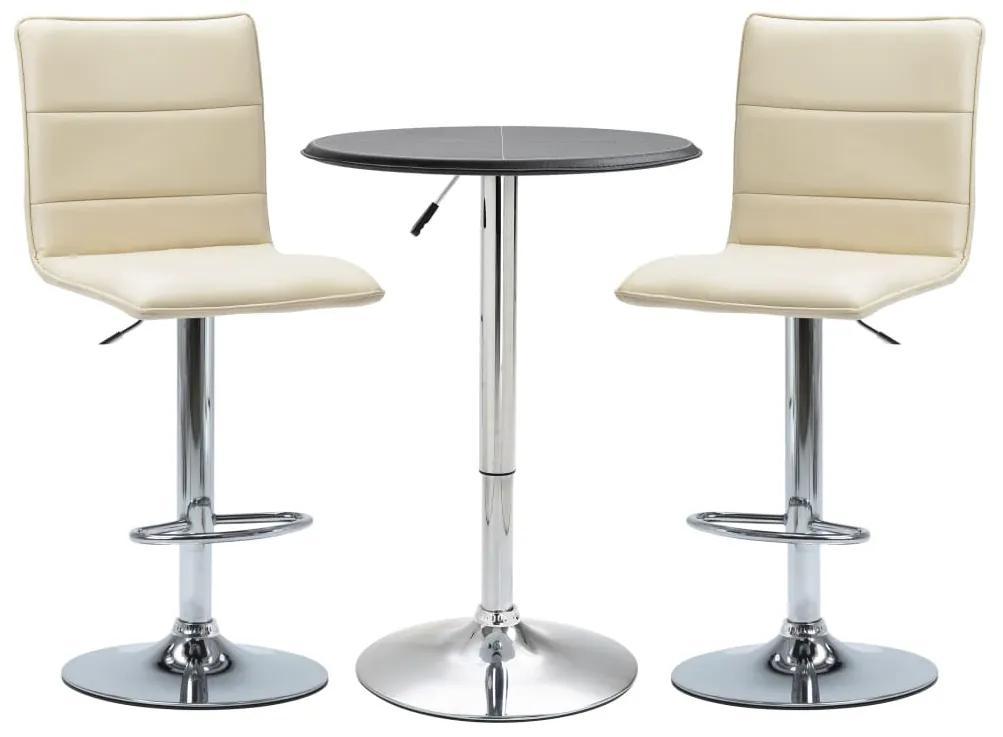 279607 vidaXL Set mobilier de bar, 3 piese, negru, piele ecologică