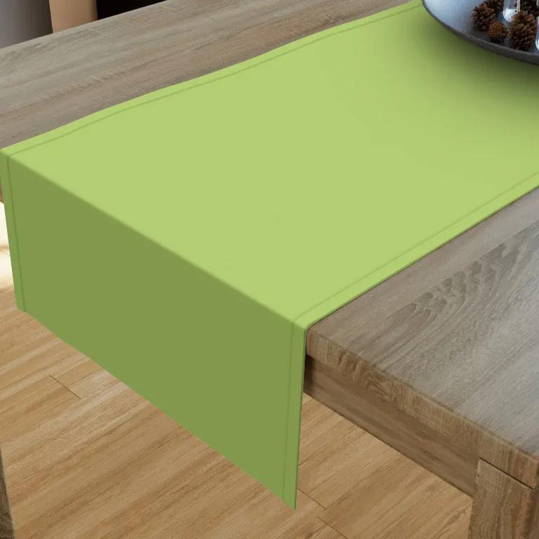 Goldea napron de masă din bumbac - verde 20x120 cm