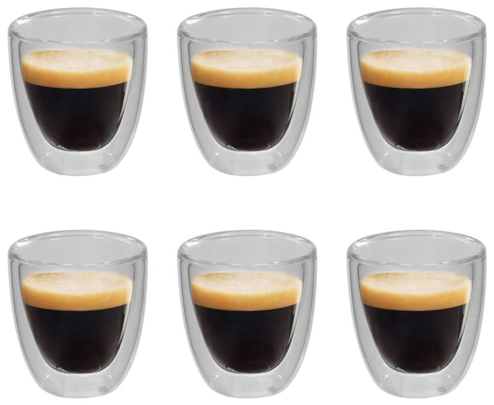 50831 vidaXL Pahar termic perete dublu pentru cafea espresso, 6 buc., 80 ml