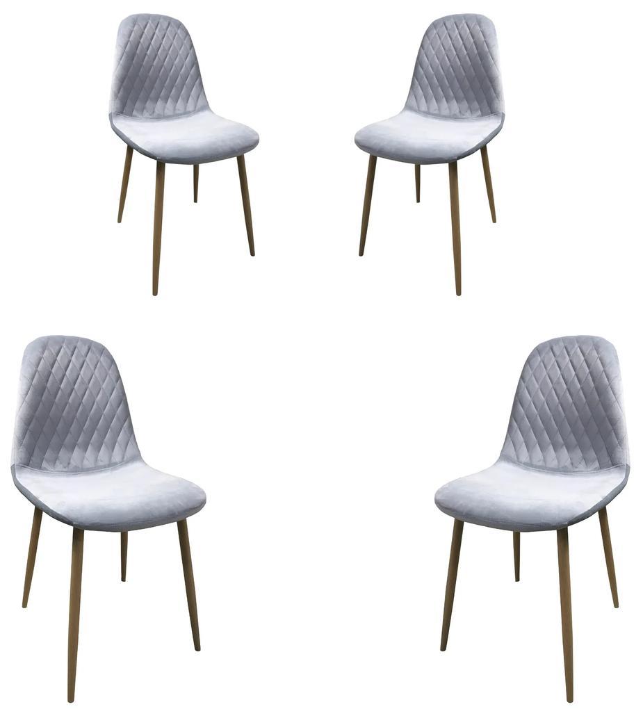 Set 4 scaune dining MF ABBY, stil scandinav, catifea, picioare metalice, azuriu