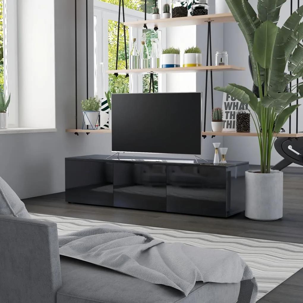 801875 vidaXL Comodă TV, negru extralucios, 120 x 34 x 30 cm, PAL