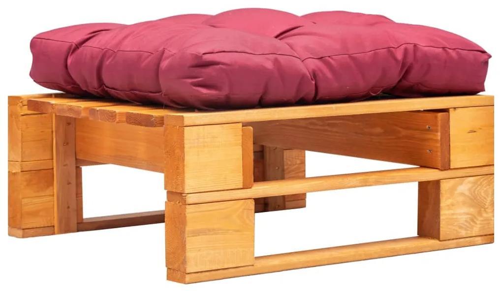 277442 vidaXL Taburet de grădină paleți cu pernă roșie, maro miere, lemn