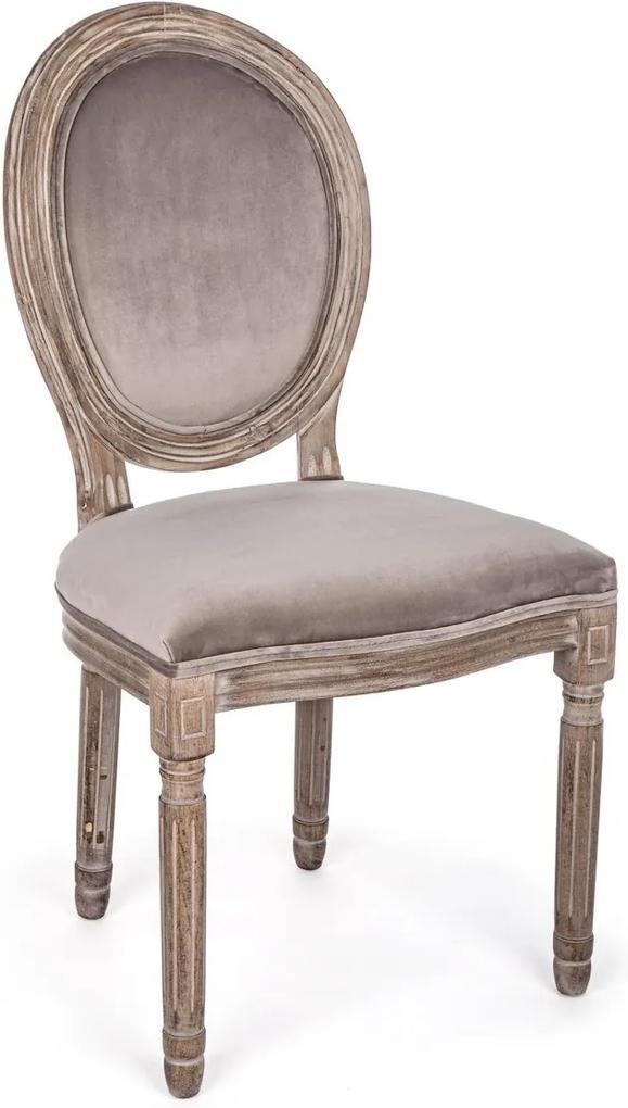 Scaun cu spatar din lemn si tapiterie catifea bej Mathilde 48 cm x 46 cm x 96 h x 48 h