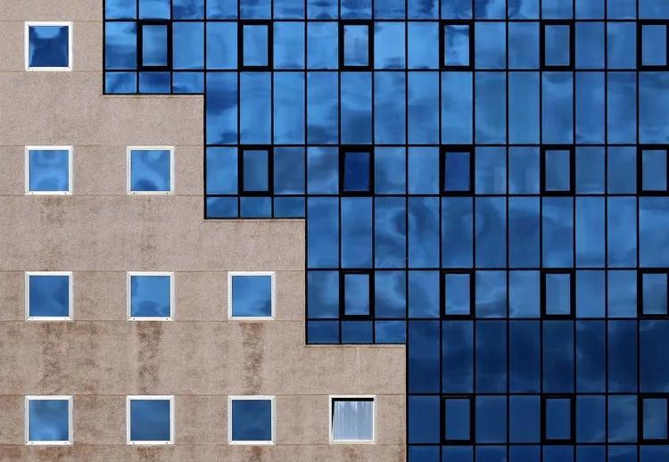 Blue Windows Fototapet, (104 x 70.5 cm)
