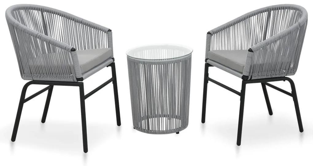 48140 vidaXL Set mobilier de bistro cu perne, 3 piese, antracit, ratan PVC
