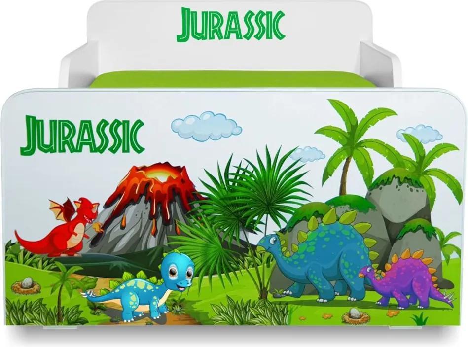 Pat copii Jurassic 2-12 ani cu saltea cadou