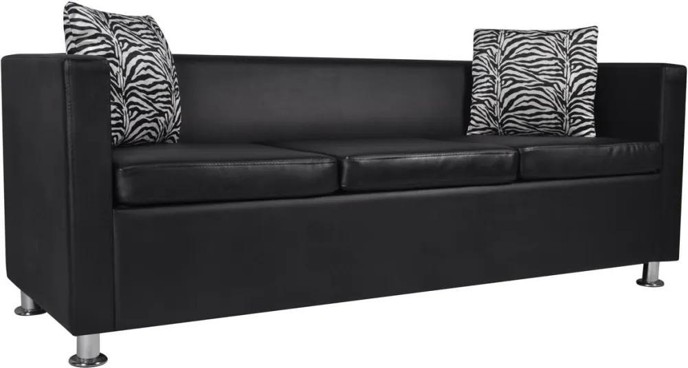 Canapea cu 3 locuri, negru, piele artificiala