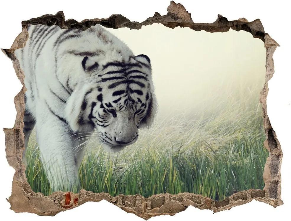 Fototapet un zid spart cu priveliște Tigru alb