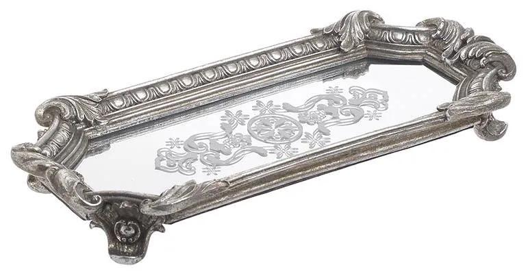 Tava din rasina cu oglinda Antique Silver 32 cm x 15 cm x 5 cm