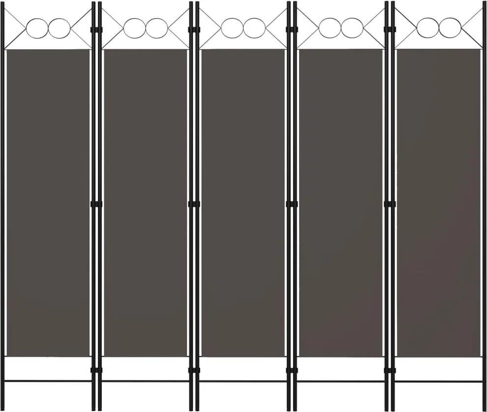Paravan de camera cu 5 panouri, antracit, 200 x 180 cm