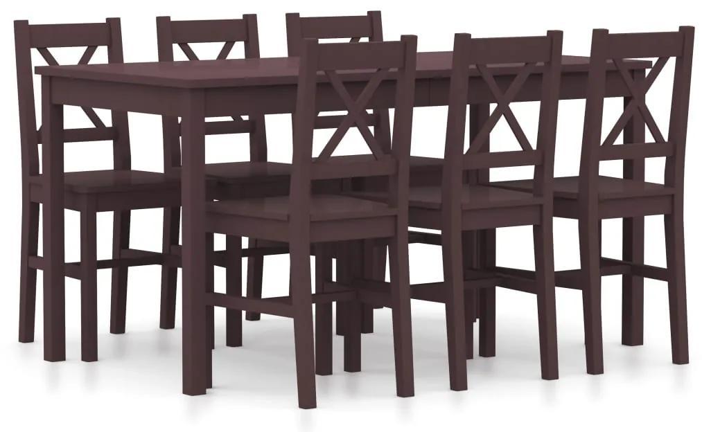 283377 vidaXL Set mobilier de bucătărie, 7 piese, maro închis, lemn de pin
