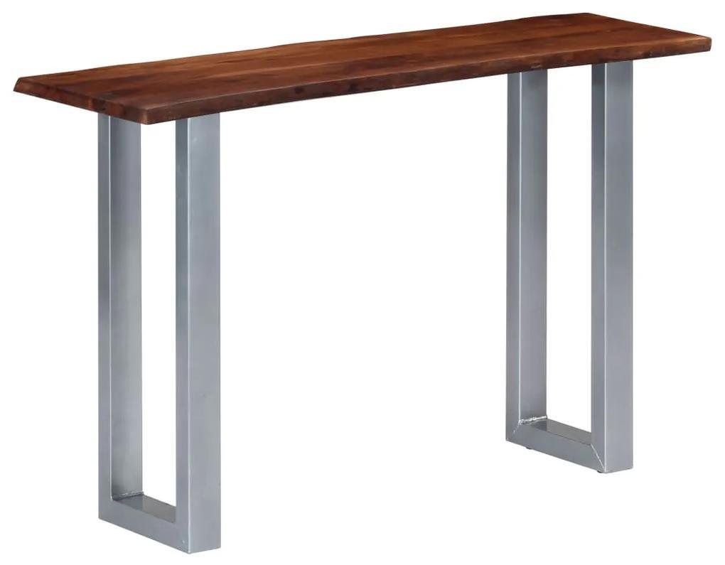 247830 vidaXL Masă consolă, 115x35x76 cm, lemn masiv de acacia și fier