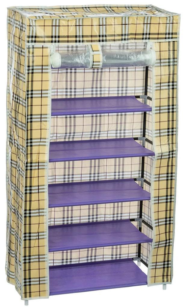 Dulap textil A2 cu 6 rafturi, Multicolor, 60x108 cm